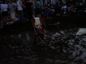 The best (muddiest) seat in the house Saturday night.